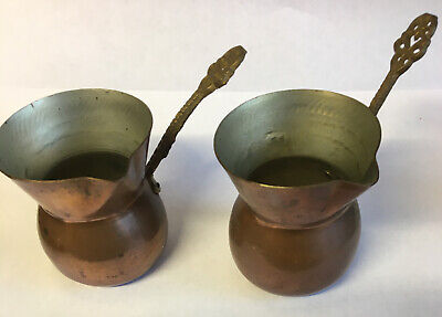 2x Riveted Brass Handle Copper Pouring Jug Pots Sarajevo Yugoslavia