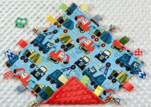 Double Minky! Minky Construction & Red Minky Tag Taggie Security Blanket Baby