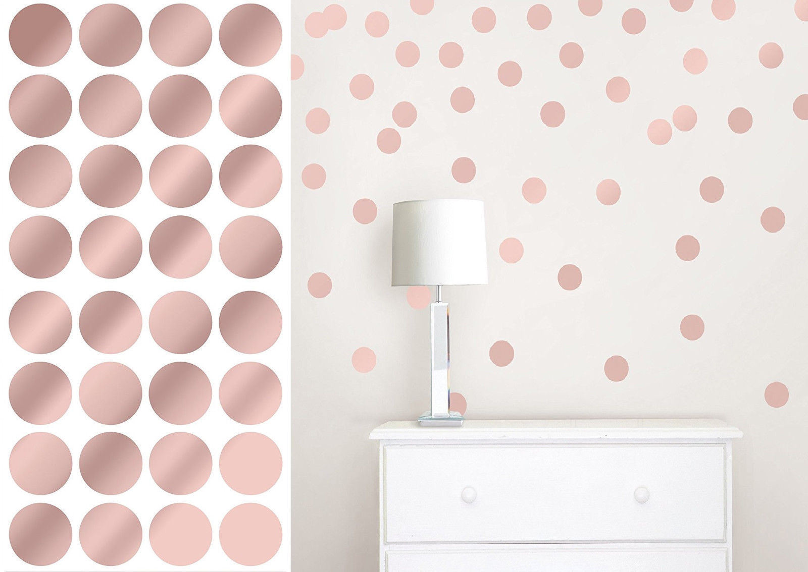 Home Decoration - Rose Gold Polka Dot Wall Stickers CHROME Spots Decal Child Kids Vinyl Home Decor