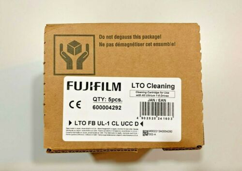 NEW- FUJI FILM (5PK)  LTO UNIVERSAL CLEANING TAPE DRIVE CARTRIDGES #600004292