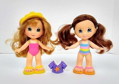 "Fisher Price Snap N Style 7"" Dolls Lot of 2, Brown hair & Straw. Blonde hair"