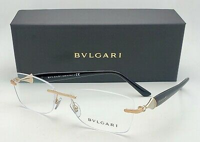 New BVLGARI Eyeglasses 2190-B 2014 53-16 Gold & Black Rimless Frames w/ (2014 Eyeglasses)