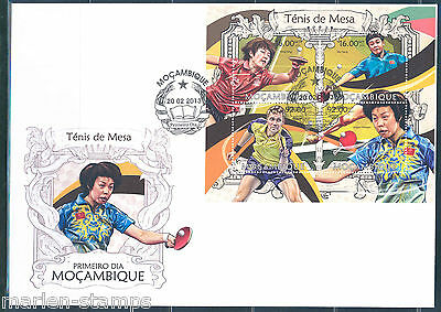 MOZAMBIQUE 2013 PING PONG TABLE TENNIS  SHEET FIRST DAY COVER