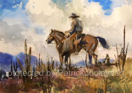Original watercolor painting 22x19 Cowboys On Round up  USA artist western