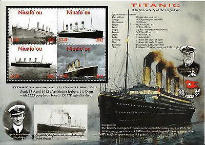 Niuafo'ou 2012 MNH Titanic 100th Anniv 4v M/S Ships Boats Smith Stamps
