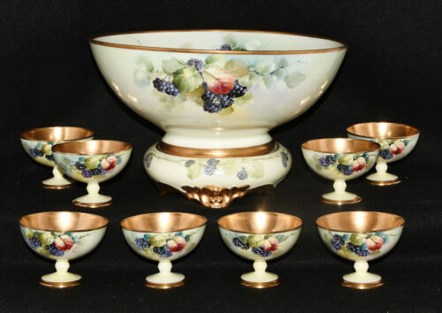 Carlsson & Bement Studio Chicago Punch Bowl, Stand & 8 Cups