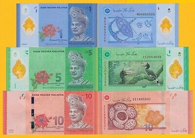 Malaysia Set 1, 5, 10 Ringgit 2011 UNC Banknotes