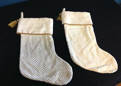 White And Gold Christmas Stockings (Set 2 Christmas Stockings ivory off white gold square print)