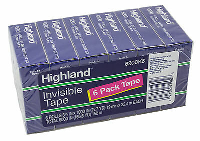 Highland Invisible Tape 34 Width - 6 Rolls Per Pack