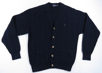 Nautica Navy Blue Green Mens Sailing Crest Cable Knit Cardigan Sweater L Vintage