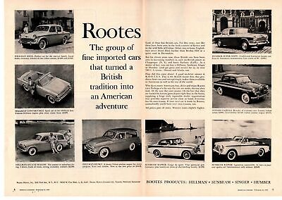 1959 Rootes Motors Sunbeam Hillman Singer Humber British Cars 2-Page Print Ad