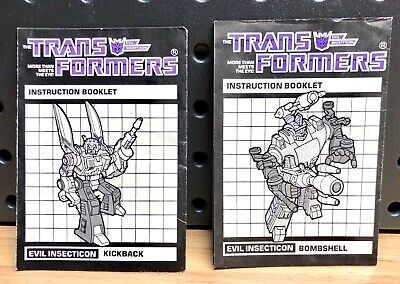 Transformers G1 Insecticons Bombshell & Kickback Instruction Booklets / Manuals