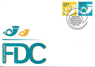 Estonia 2017 FDC Post Horn Definitives 2v S/A Set Cover Postal Services Stamps