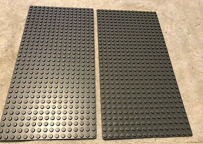 GROUPS OF LEGO 3857 16x32 DOT FLAT BASE PLATES - GREEN, DARK BLUISH GRAY