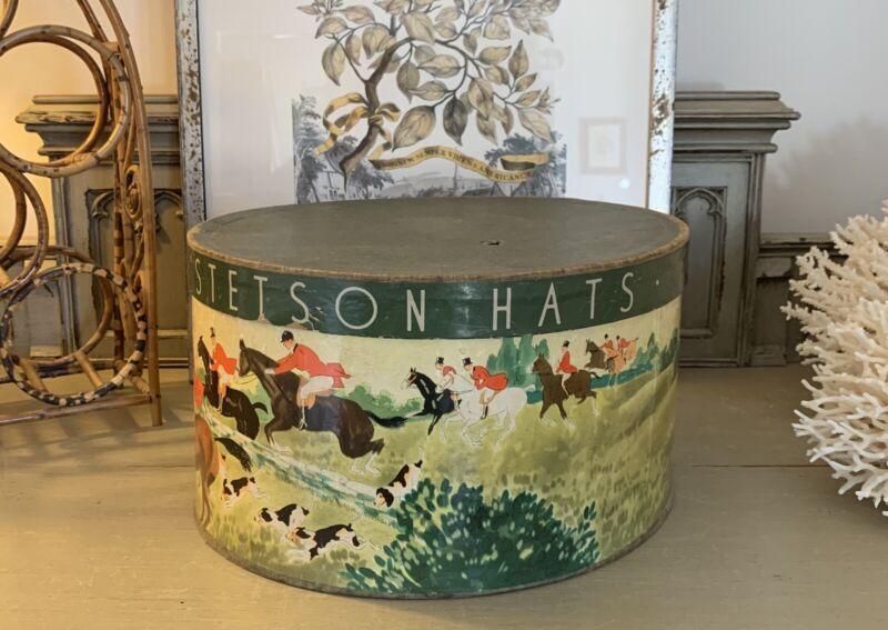Stetson~ Vintage Hat Box~ Oval~ Hunt Scene