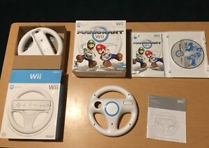 Mario kart Wii in box game with 2 steering wheels
