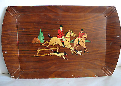 """Mid Century HASKELITE 18x11"""" wood serving lap tray horses dogs hunting FREE SH"""