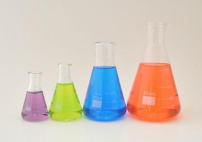 2 Sets Erlenmeyer Flasks 50ml 100ml 250ml 500ml Borosilicate Glass Lab New