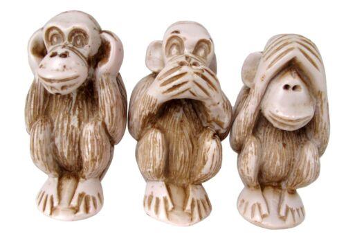 """3 Wise Monkeys Figurines Set Hear See Speak No Evil Three Statue Sculpture 4.5"""""""