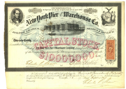 New York Pier and Warehouse Co. Stock Certificate. 1865