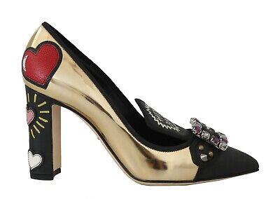 DOLCE & GABBANA Shoes Black Gold Leather Crystal Pumps EU39 / US8.5 RRP $1300
