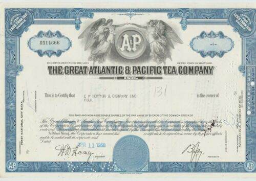 The Great Atlantic & Pacific Tea Company Stock Certificate Blue