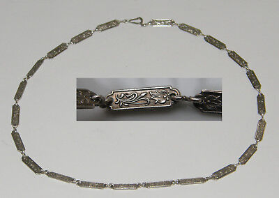 Kette Collier um 1920 ca. Silber 900 Krat Glieder florales Reliefmuster 48,5cm