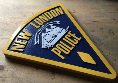 Police New London 3D routed wood plaque  patch Sign Custom
