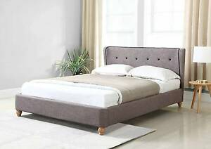 Scandinavian Queen Size Fabric Bed Frame (Grey Colour) Dandenong South Greater Dandenong Preview