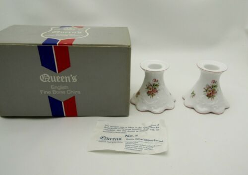 Rosina Queens Fine Bone China Jacobean Apple Blossom Candlestick Candle Holders