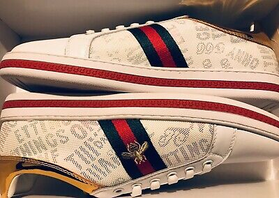 New Gucci Gold Back Brand Ace Bee Men's Trainers Size 9/43.