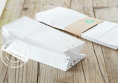 10 Geschenktüten POLKA DOTS Papiertüten Papiertaschen Tüten Papier weiß  elegant