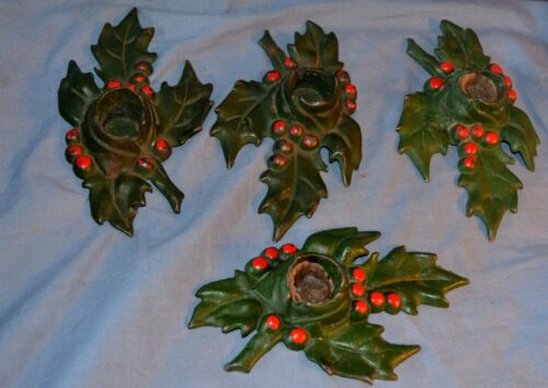 Vintage Lot 4 Matching Cast Iron Holly Leaf Candle Holders Christmas Collectible