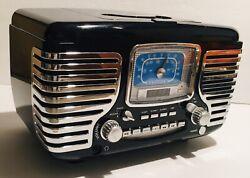 Crosley CR612D-BK AM/FM Dual Alarm Clock Radio,CD Player Bluetooth-Black EUC