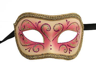Mask from Venice Colombine or Civet Pink Fushia Golden for Fancy Dress 1100 E9B