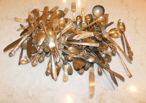 LOT OF SILVERPLATED ASSORTED FLATWARE DIY CRAFT VAR MAKERS 10.3 Lbs