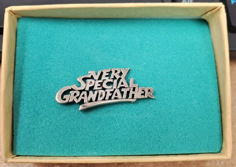 """Retired Sterling Silver James Avery """"Very Special Grandfather"""" Tie Tack"""