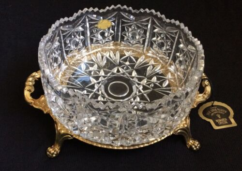 Vintage Monarch Crystal 24K Gold Plated Pedestal Hand Cut Lead Crystal Germany