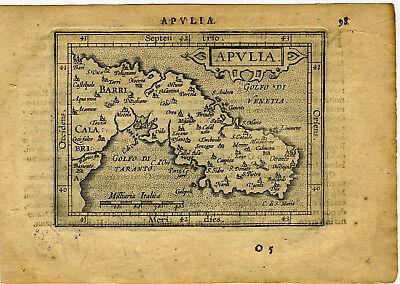 1609 Genuine Antique miniature map of southeastern Italy, Taranto. A. Ortelius
