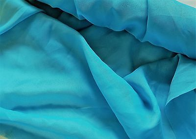 Teal Blue Sheer Crepe Fabric  small 24 in  wide   1 (Teal Crepe)
