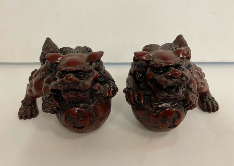 """Feng Shui Pair of Red 2.5"""" Foo Dog Guardian Lion Statue Figurine Gift"""