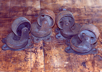 4 - 2.5 Vintage Industrial Cast Iron Swivel Casters - Antique Payson Wheels