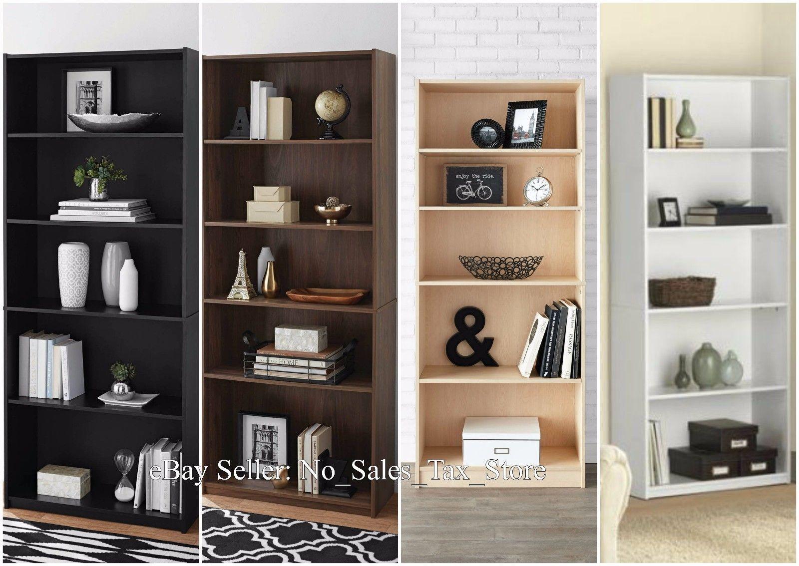 MAINSTAYS Adjustable 5 Shelf Wood Bookcase Storage Shelving Bookshelf Furniture Sale