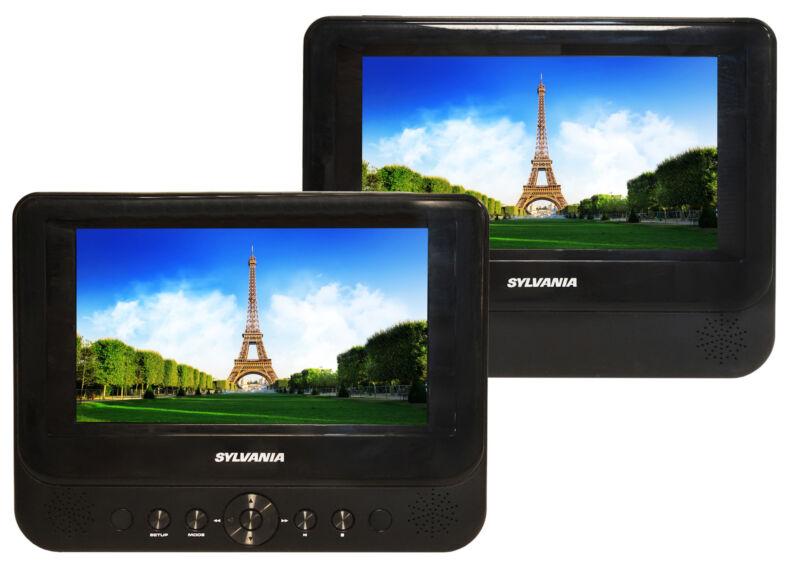 "Sylvania 7"" Portable Dual Screen DVD Player with Remote - SDVD8747"