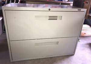 Wide two-drawer filing cabinet