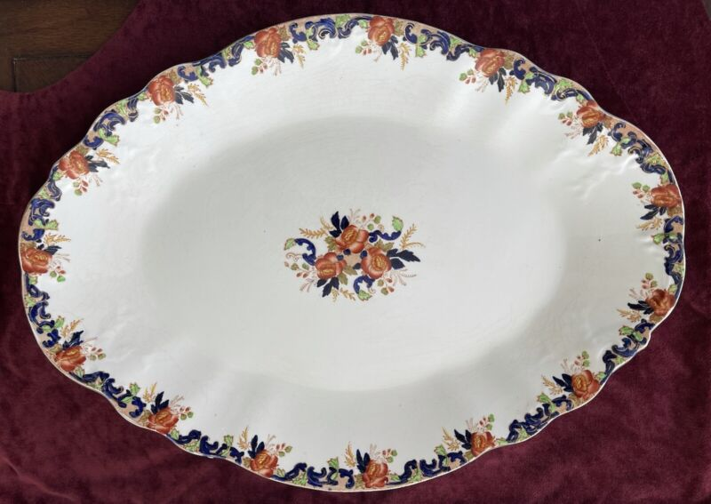"""Antique 1890s Lg 19"""" Serving Platter by John Maddock & Sons """"Majestic"""" ~ ENGLAND"""