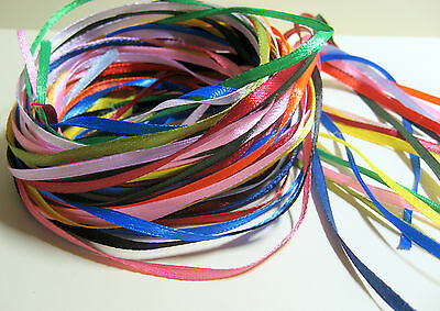 20 x 1 Metre lengths of mixed colours 3mm wide Satin Ribbon