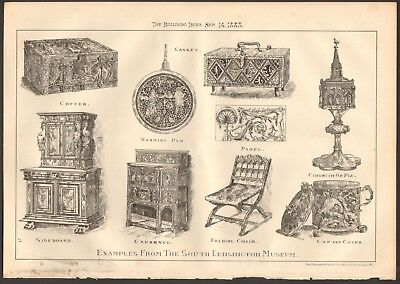 1883 ANTIQUE PRINT- ARCHITECTURE- DESIGN, FURNITURE FROM SOUTH KEN MUSEUM