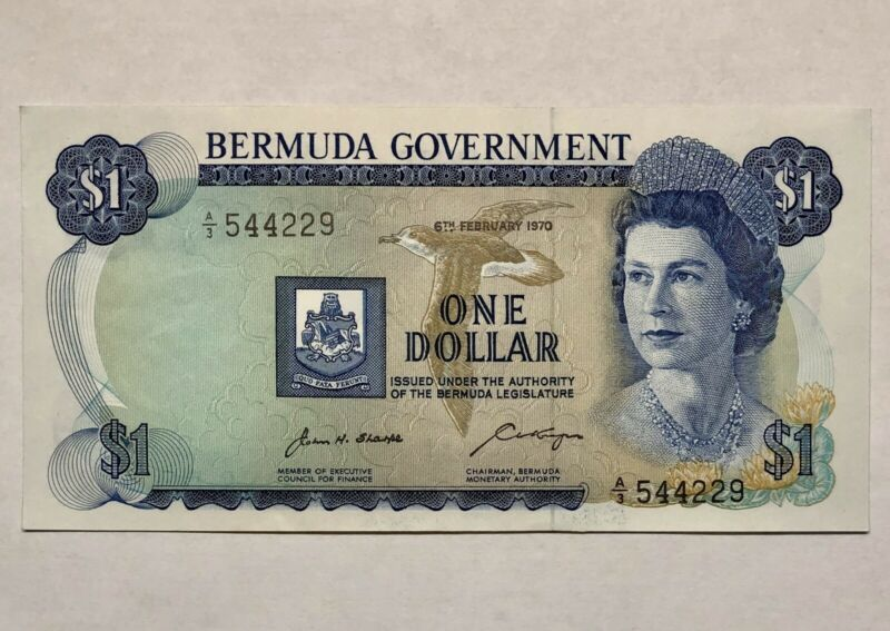 1970 BERMUDA ONE DOLLAR BANKNOTE QUEEN ELIZABETH II * NICE NOTE
