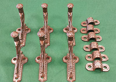 6 STAIR HAND RAIL HOLDERS CAST IRON VINTAGE SCARCE DECORATIVE MOUNTNG CLIPS #115 Decorative Stair Rails